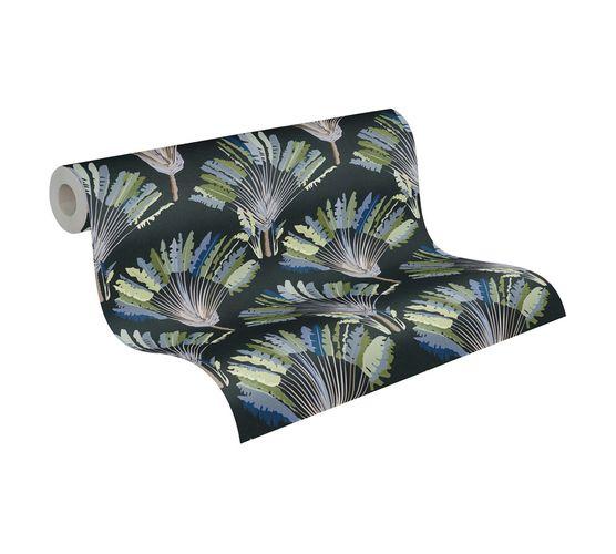 Tapete Vlies Palmen Blätter blau grün schwarz 37708-5