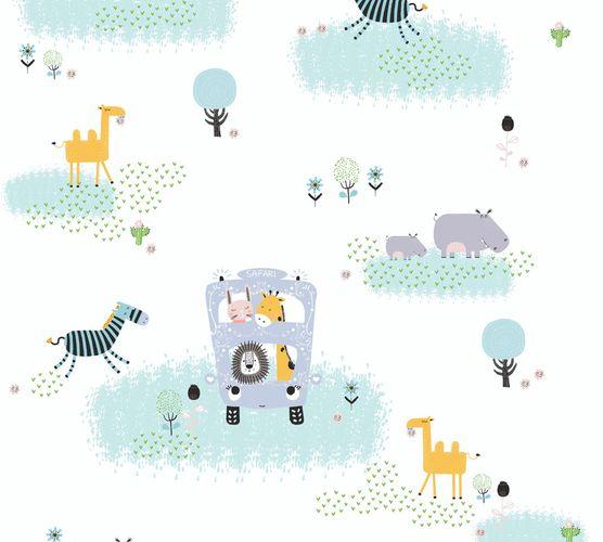 Vliestapete Kinder Tiere Bus Safari bunt weiß 38114-1