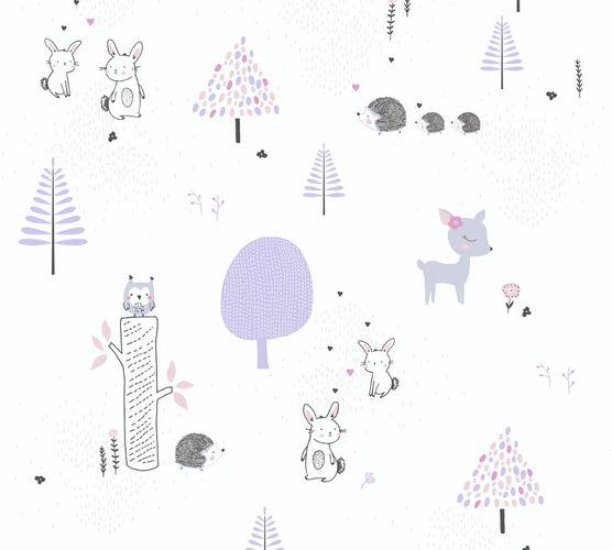 Vliestapete Kinder Wald Hase Igel lila grau weiß 38117-1