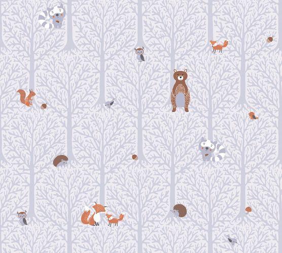Vliestapete Kinder Wald Tiere grau braun weiß 38119-1