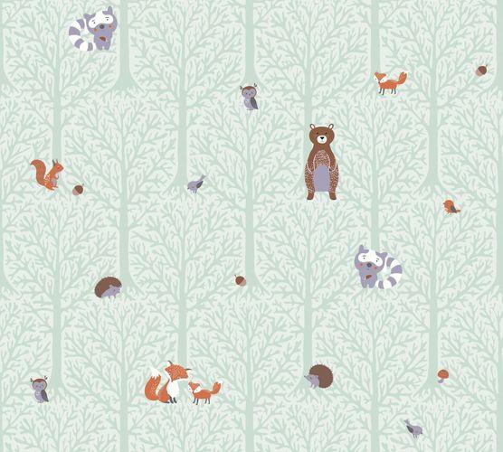 Vliestapete Kinder Wald Tiere grün braun 38119-2