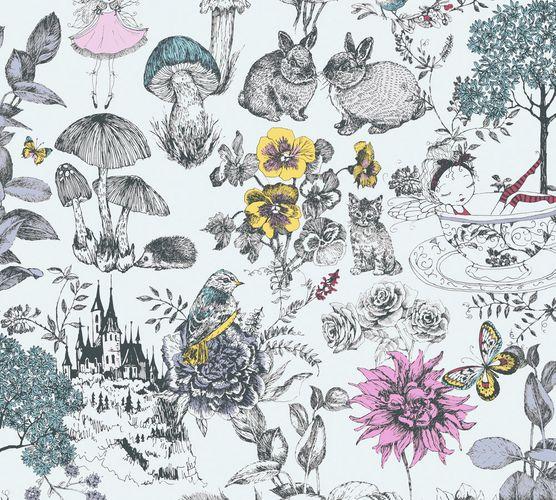 Vliestapete Kinder Blumen Tiere weiß bunt 38120-1