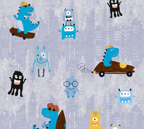 Vliestapete Kinder Monster Dino blau grau gelb 38121-1
