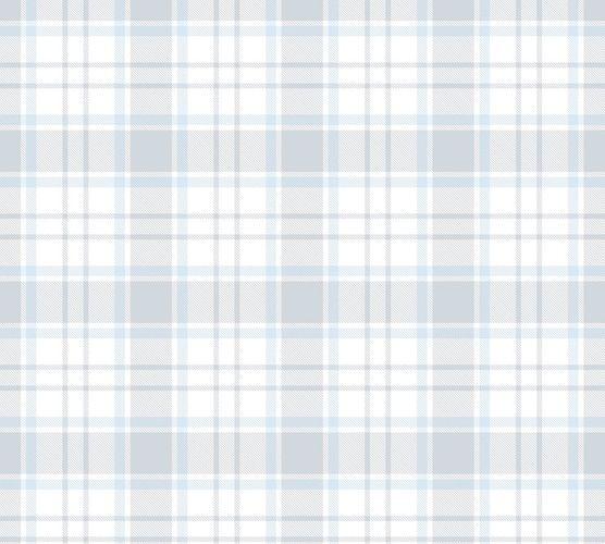 Vliestapete Kinder Kariert blau grau weiß 38122-3