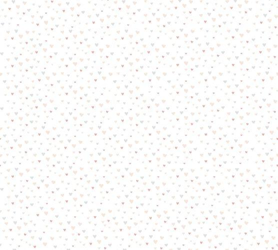 Vliestapete Kinder Herzen rosa grau beige 38124-1