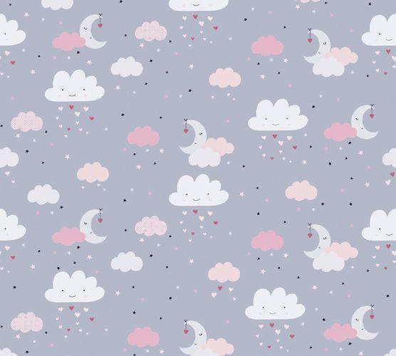 Vliestapete Kinder Wolken Mond Sterne grau rosa 38125-1