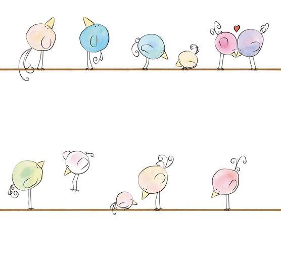 Vliestapete Kinder Vögel Tiere bunt weiß 38137-1