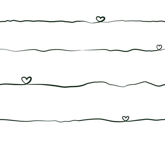 Vliestapete Kinder Schrift Herzen schwarz weiß 38140-3