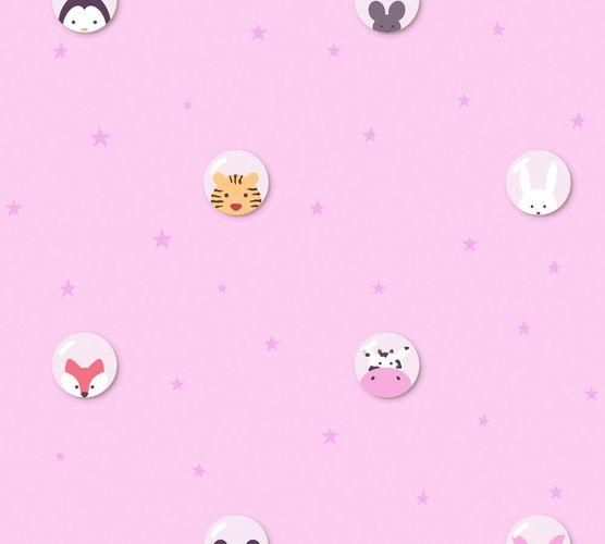 Vliestapete Kinder Tiere Sterne Blasen rosa weiß 38143-2