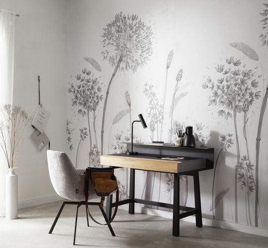 Fototapete Blumen Floral grau weiß beige 32750