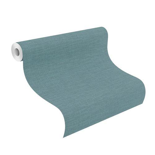 Non-Woven Wallpaper Plain Textile turquoise 700473