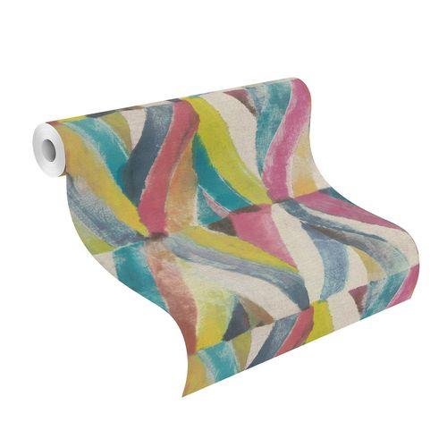 Non-Woven Wallpaper Rhombus Ethno colourful 704051