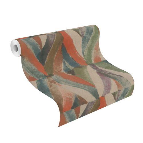 Non-Woven Wallpaper Rhombus Ethno green beige 704068