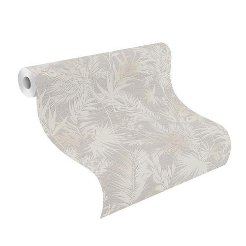 Non-Woven Wallpaper Jungle Leaves grey 704129