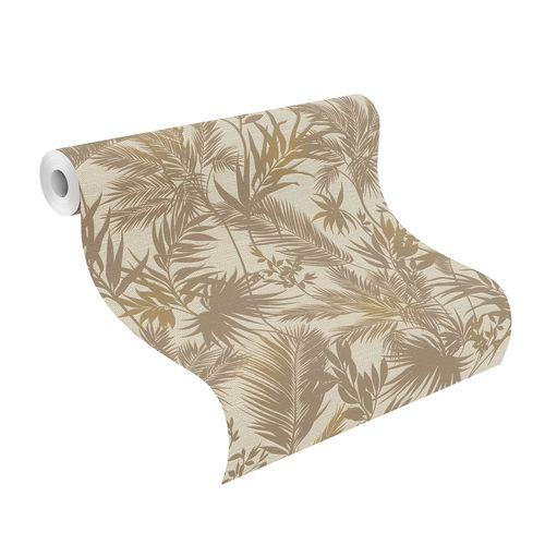 Non-Woven Wallpaper Jungle Leaves beige gold 704136