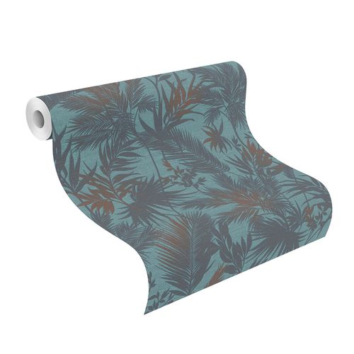Non-Woven Wallpaper Jungle Leaves turquoise-blue 704143