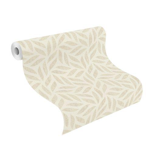 Non-Woven Wallpaper Pattern Leaves cream beige 704624
