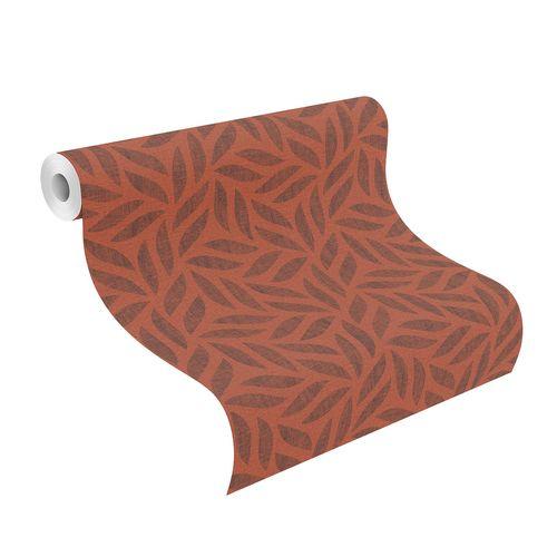 Non-Woven Wallpaper Pattern Leaves orange-red 704655