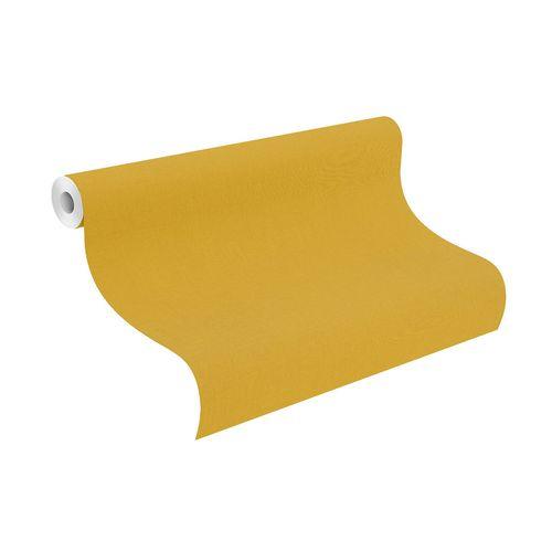 Non-Woven Wallpaper Rasch Plain Linen yellow 531442