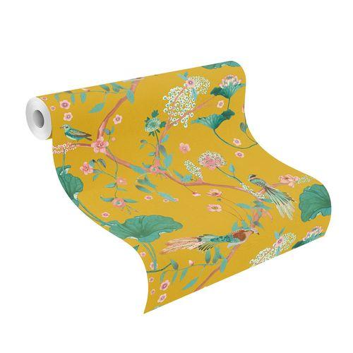 Non-Woven Wallpaper Rasch Leaves Birds yellow 539448