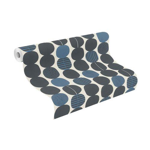 Non-Woven Wallpaper Rasch Graphic blue black 539745
