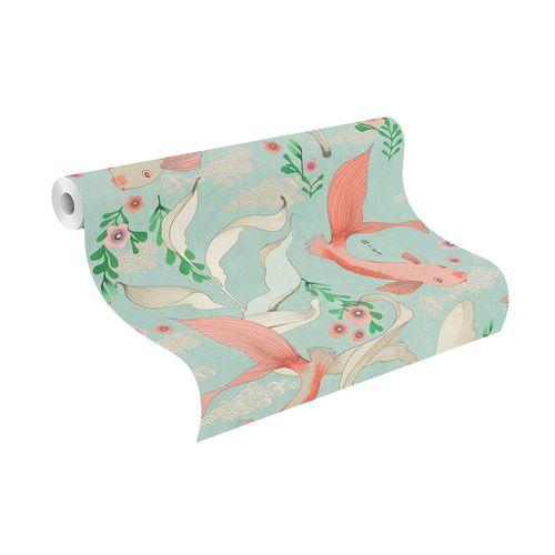 Non-Woven Wallpaper Rasch Carp Japan blue grey 539837