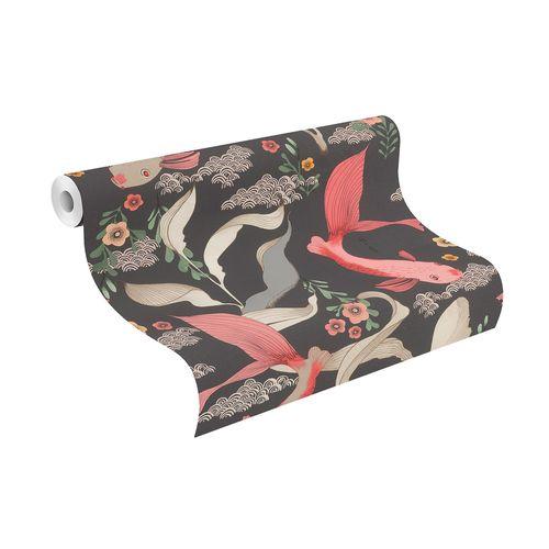 Non-Woven Wallpaper Rasch Carp Japan black red 539851
