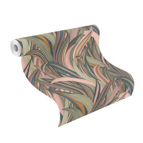 Non-Woven Wallpaper Rasch Leaves blue pink 541243