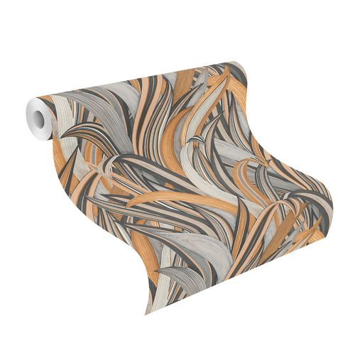 Non-Woven Wallpaper Rasch Leaves brown grey 541274