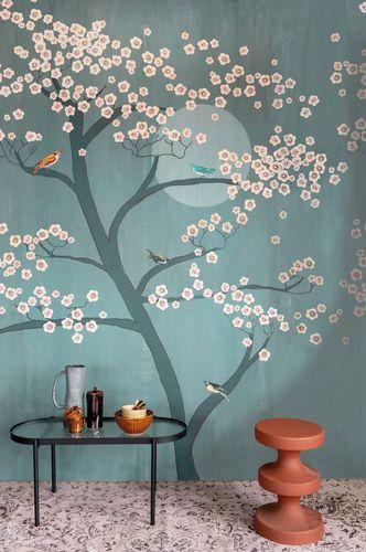 Photo Wallpaper Rasch Blossoms Tree blue grey 542134