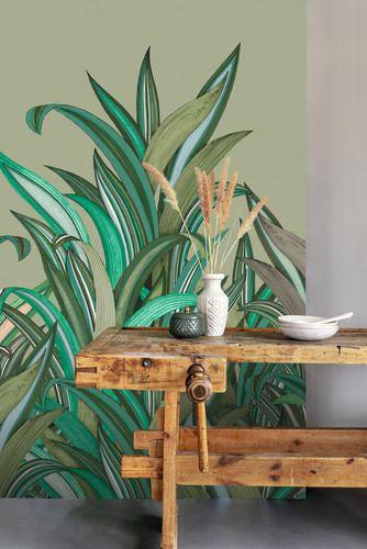 Photo Wallpaper Rasch Leaves Fern green beige 542226
