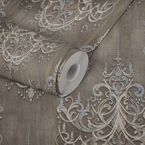 Picture Non-Woven Wallpaper Baroque Ornaments brown blue 38096-1