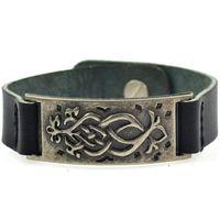Fantasy Herrenarmband aus Schwarzer Leder Imitation mit Metallplakette Armband Herren Lederarmband Mittelalter