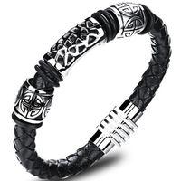 Herren Damen Armband aus Schwarz geflochtenem Leder mit Magnetverschluss - Lederarmband Surferarmband Herrenarmband