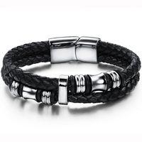 Herrenarmband aus Schwarz geflochtenem Leder mit Magnetverschluss Armband Herren Lederarmband Surferarmband