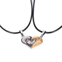 Edelstahl Partner Ketten - I Love You – Silber Gold Leder - Herrenkette Damenkette - Liebe Love Zirkonia