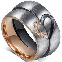 Partnerringe Freundschaftsringe - Edelstahl Edelstahl Gold Rose Silber Zirkonia Herz - Verlobungsringe Eheringe Hochzeitsringe Trauringe - Modell 80508