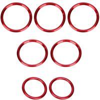 Overdrive-Racing 7x Lüftungsringe Blenden Alu Rot Abdeckung Zierringe C-Klasse W205 GLC X253 Äußere Ringe Lüftungsdüse