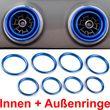 Overdrive-Racing 8x Lüftungsringe Innen Außen Blenden Alu Blau Lüftungsdüsen Ringe Abdeckung Passend Für A3 S3 RS3 Q2