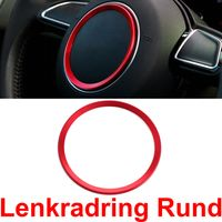 Overdrive-Racing Lenkradring Rund Lenkrad Blende Alu Rot Ring Zierring Passend Für A1 A3 S3 A4 A5 S5 A7 S7 Q3 Q5 TT