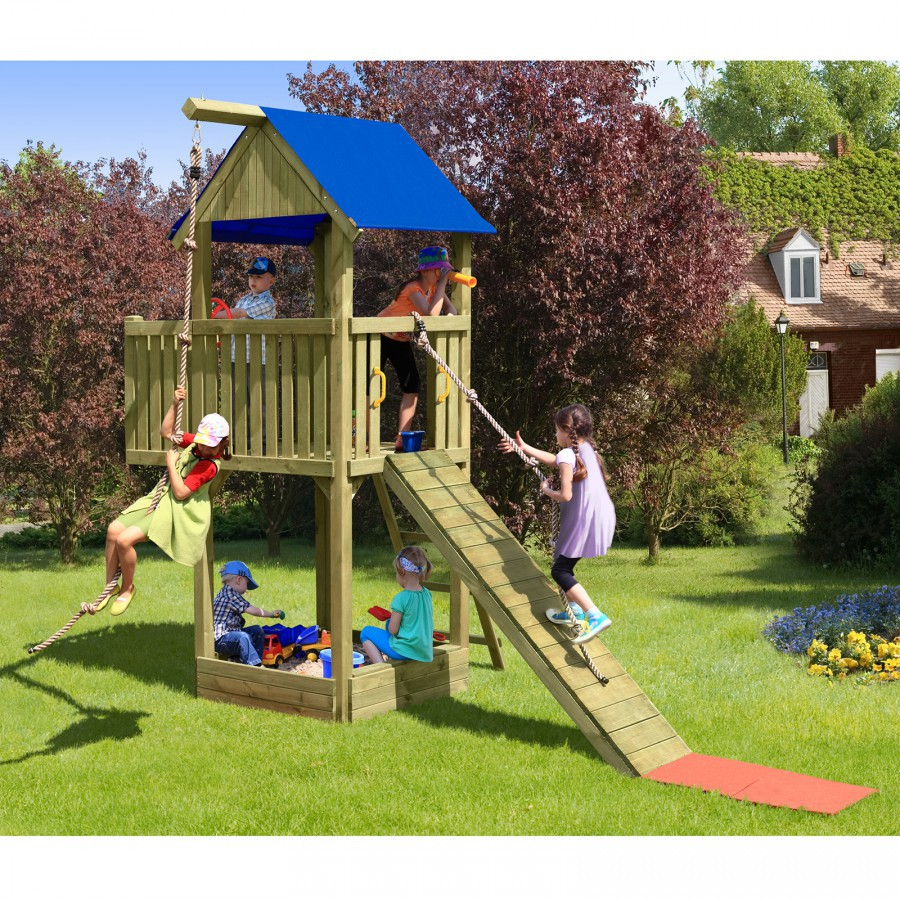 abenteuer spielturm kletterturm holz mit sandkasten von gartenpirat de. Black Bedroom Furniture Sets. Home Design Ideas