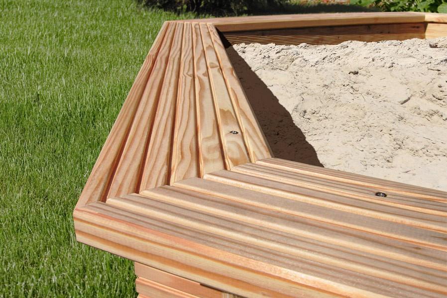 sandkasten 6eck aus l rchenholz 230. Black Bedroom Furniture Sets. Home Design Ideas