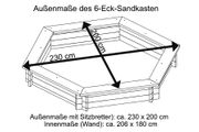 Sandkasten 6-eckig aus Holz  Ø 230 cm