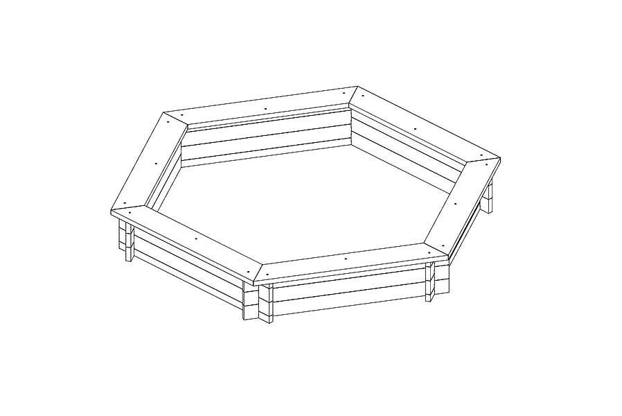 sandkasten aus holz 6 eckig 230 cm mit abdeckung plane. Black Bedroom Furniture Sets. Home Design Ideas
