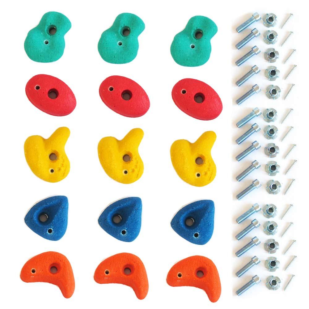 Klettersteine-Set mit 15 Stück Klettergriffen klein
