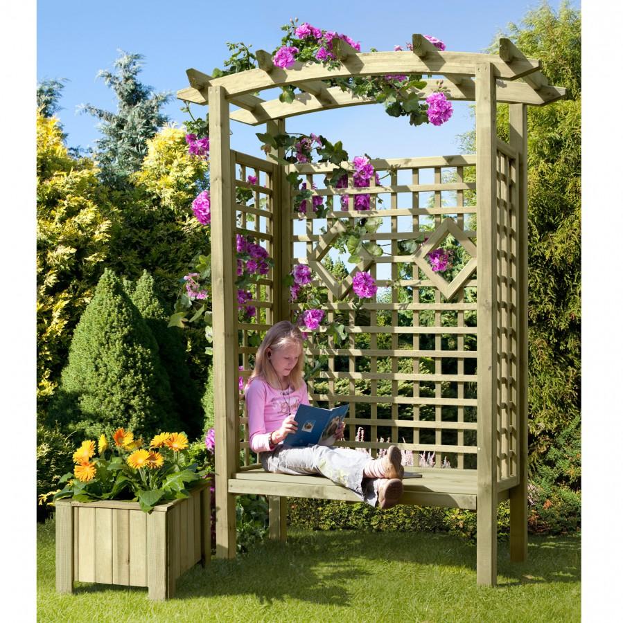 Arkadensitzpergola Gartensitz Bank aus Holz