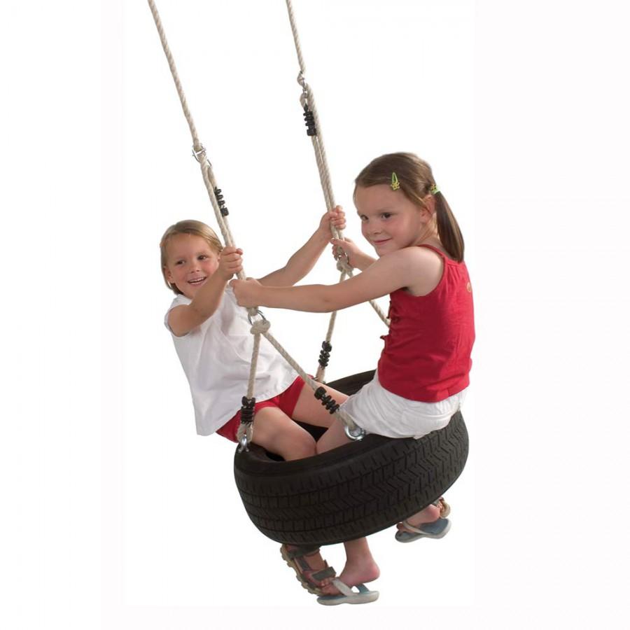 Horizontale Reifenschaukel (mit Reifen) für Kinder schwarz