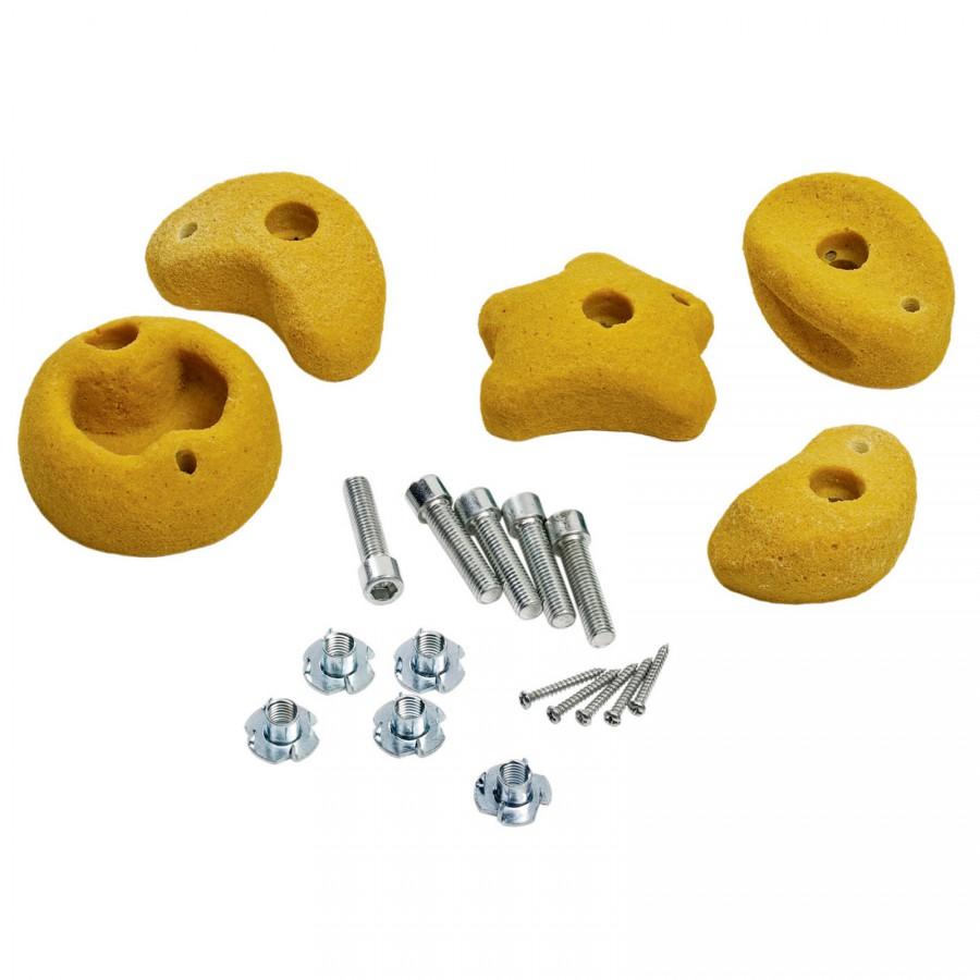 5 st ck klettersteine klein gelb mit drehsicherung klettergriffe f r spielturm. Black Bedroom Furniture Sets. Home Design Ideas