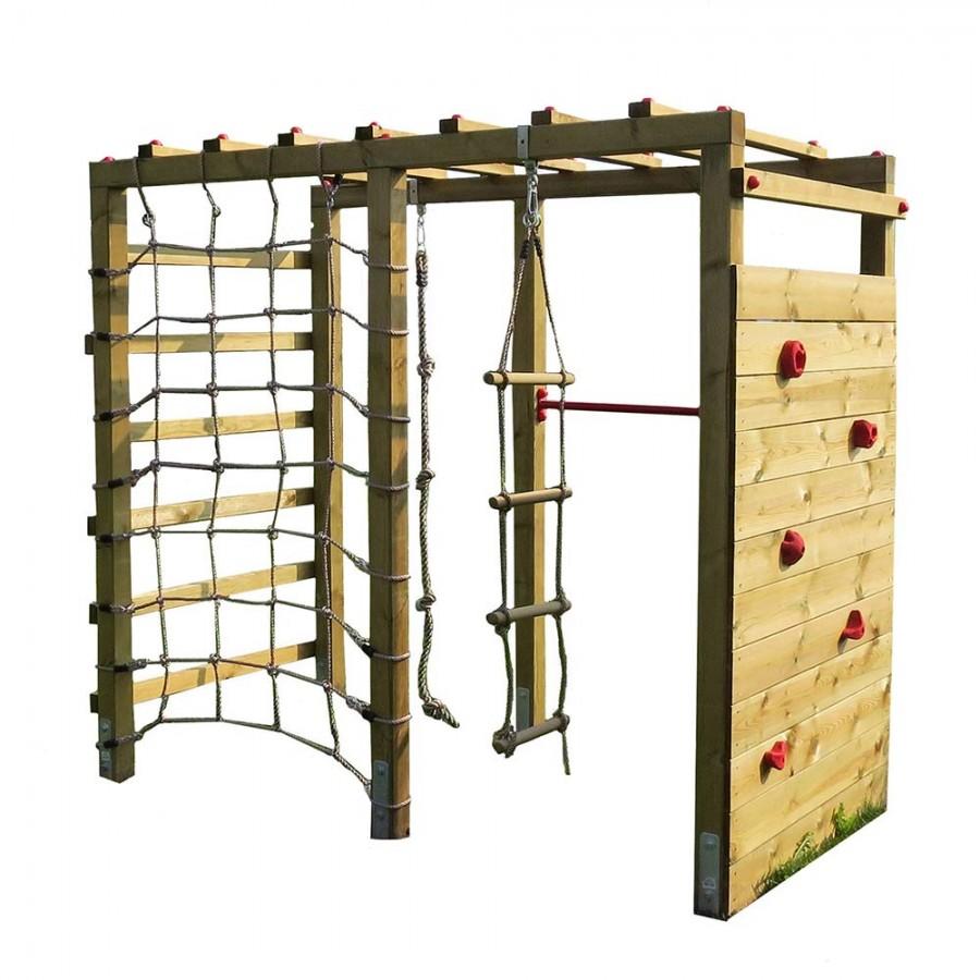Klettergerüst Holz mit Kletterwand Premium | Spielturm aus