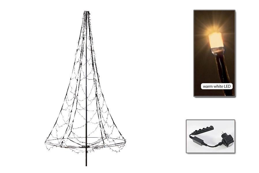 Led weihnachtsbaum christbaum 3 m mit 360 led warmwei mit for Fahnenmast lichterkette